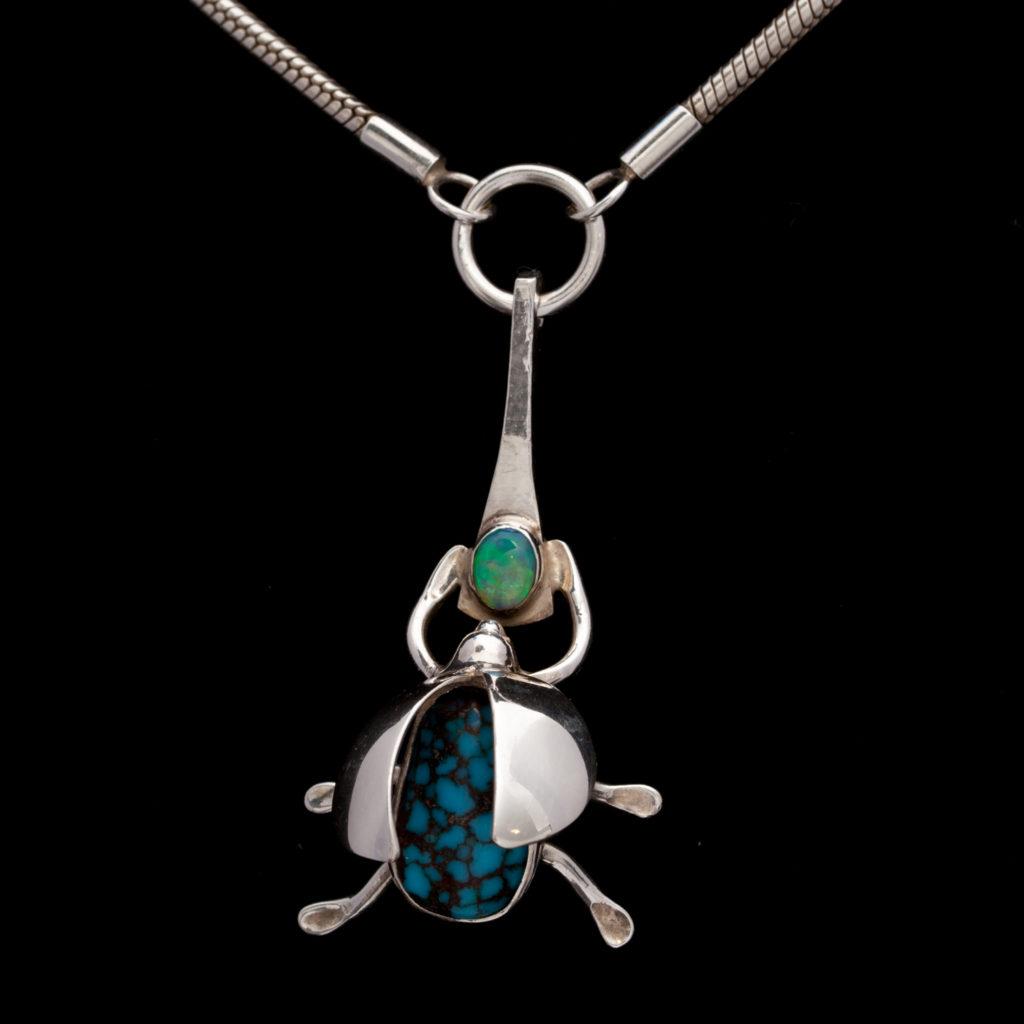 Beetle with Opal & Turquiose Pendant