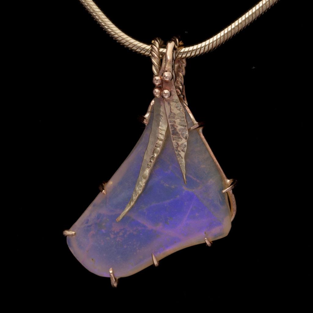 blue crystal opal leaf seeds square